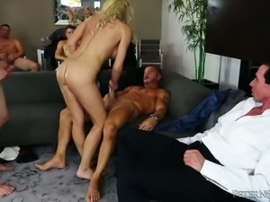 Ugly cuckold looks crowd of wild studs fucking his spoiled blond wifey Nadia...