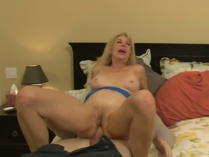 Horny guy butt fucks old blond hoe Erica Lauren in multiple poses tough