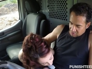 Petite small breasted chick gives solid BJ to her horny Mexican BF on the...