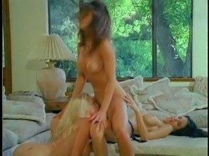Three fascinating retro girls spicing up the session with a strap-on