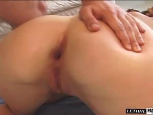 Sexy cowgirl in miniskirt yells when her anal is feasted hardcore