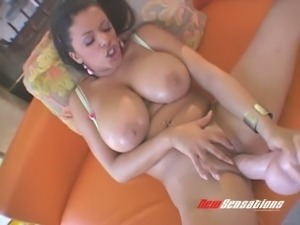 Boobalicious Latina mommy Alexis Silver presents fancy solo using giant dildo