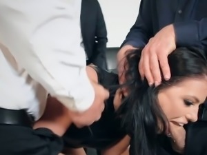 Wife double anal and double pussy fucked at a dinner party