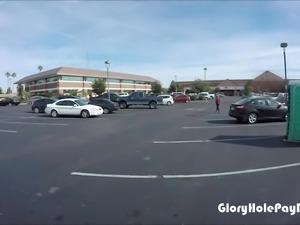 Teen sucks off strangers in parking lot in public in a public porta potty