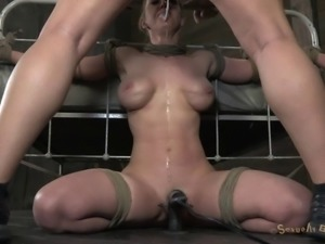 Alluring bondage diva tied with ropes then face fucked in BDSM