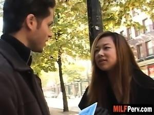 Amateur Asian brunette milf blowjob white cock