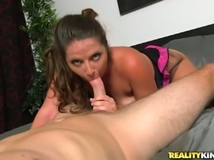 Saggy tittied brunette gets fucked doggy style and gives her head