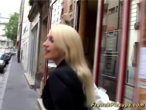 Hot blonde french babe picked up from street for her first anal video tape