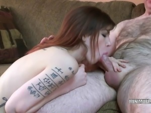 Tattooed coed Indigo Augustine is sucking some dick