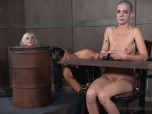 Gaping shaved hair bondage doll tortured badly in BDSM