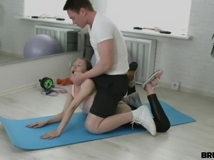 sexy chick was brutally fucked on gym ball