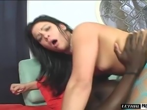Big booty small tits dame shaved pussy feasted hardcore in interracial porn