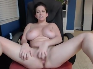 Busty White Woman Fucks Dildo and Sucks Tits on Cam