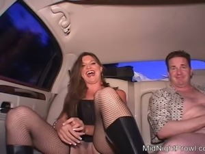Voluptuous prostitute in fishnets Angie gives blowjob in the car