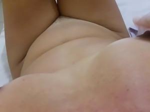 Horny milf nipple rubbing and belt beating for pleasure