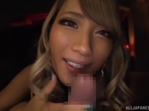 Asian beauty knows how to treat a cock with her slutty mouth