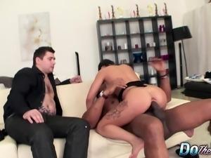 Slutty housewife Mira fucks a black stallion and her husband watches