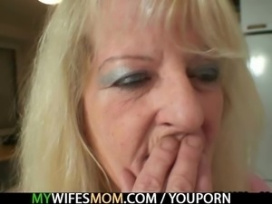 Blonde old granny rides his big dick