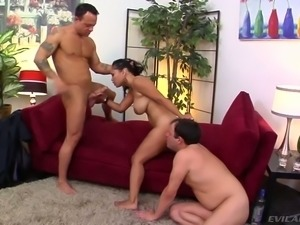Busty brunette MILF had stout 3 some with her cuckold and his brutal buddy