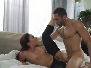 Torrid redhead girl Sheena Ryder pumping massive dick balls deep