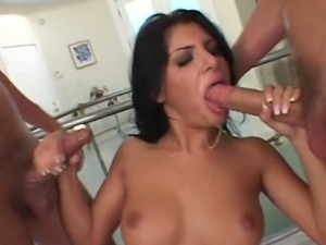 Spoiled raven haired cutie Sativa Rose bangs with two wild studs