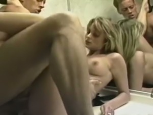 Rocco Siffredi is fucking some hot chick in the toilet room