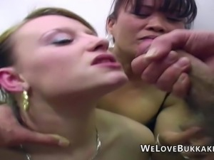 Genuine amateur facial cumshots onto different women