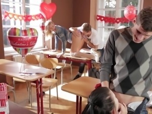 Babes bend over for throbbing love tools in a classroom