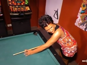 Experienced woman spreads her legs on a pool table for a nice fuck