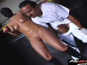 Hardcore shag for a cock craving blonde sex slave in boots