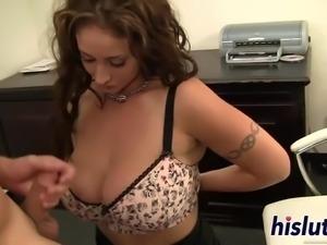 Horny office slut Eva was down on her knees pleasuring a massive shaft orally
