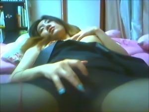 Lustful Korean girl fingering wet pussy upskirt making naughty homemade video