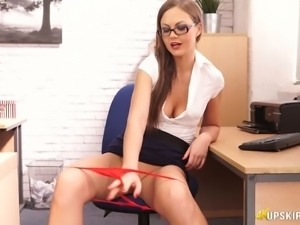 Seductive secretary Tina Kay flashing pinkish pussy upskirt