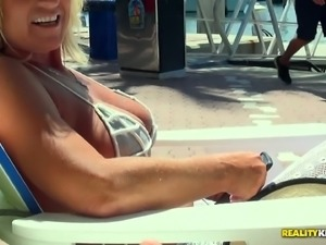Jaw-dropping sex scene on a boat starring busty porn slut Brandi Jaimes