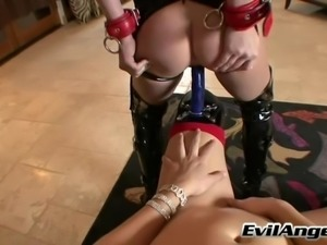 Hardcore lesbian licks cunt and ass in bondage fetish film