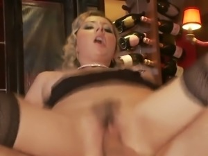 Insatiable blonde slut fucking anally in the bar