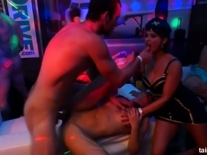 Filthy insatiable bitches fucked brutally in a club by strangers