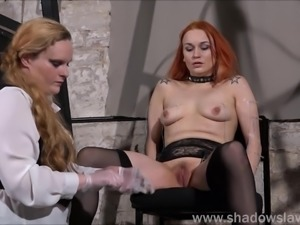 Dirty Mary lesbian pussy whipping and amateur bdsm of play redhead slave girl