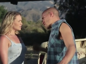 Elegant Mercedes Carrera rides the dick and makes the guy very happy