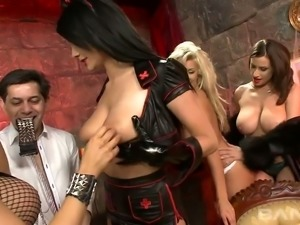 Hot like hell blond MILF Natasha Marley and three black haired hotties share...