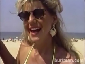 A hot doggystyle fucking action along blonde in glasses and bikini being ripped