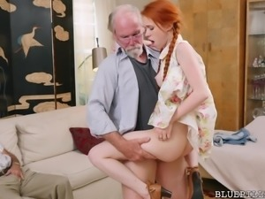 They took the viagra and now these old geezers are ready to fuck cute redhead...