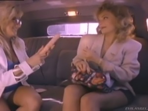 Blond filthy MILF Rebecca Bardoux makes love with her wanton pal in car