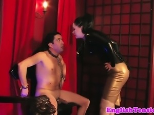 Smoking bdsm mistress caging her pathetic sub