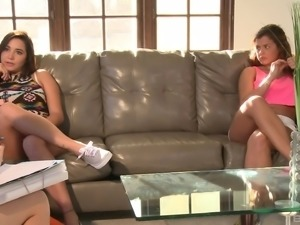 Naughty lesbian babes have a blast during a formidable threesome