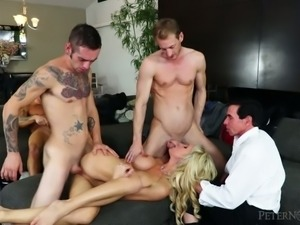 Stupid cuckold likes watching three studs banging his yummy blond bitch Nadia...
