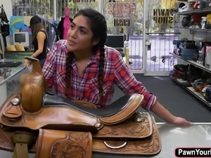Hot latina cowgirl Lexie banderas rides huge dick for cash