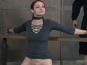 Fucking a redhead's face and covering it with cum in a BDSM way
