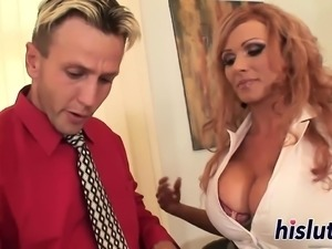 Busty MILF Sharon pleasures a thick boner