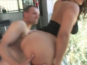Sexually charged porn slut fucked brutally in a doggy position